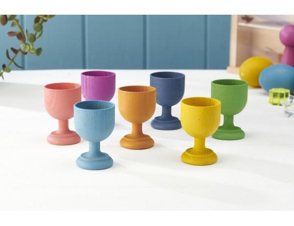Rainbow Wooden Egg Cups - Pk7