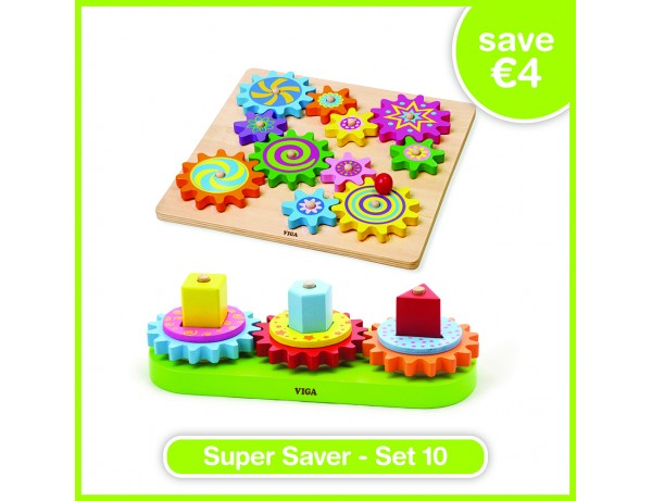 Super Saver Set 10 - Puzzle & Spinning Gears (18m+), Turning Geometric Blocks (18m+)