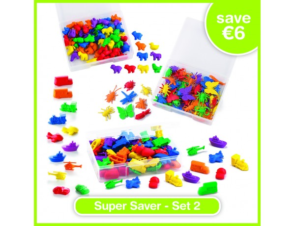 Super Saver Set 2 - WILD ANIMALS COUNTERS (120), FARM ANIMAL COUNTERS (72), TRANSPORT COUNTERS (72)