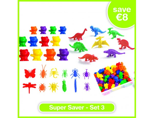 Super Saver Set 3 - BUG COUNTERS (72), DINOSAUR COUNTERS (128), BACKPACK BEAR COUNTERS (96)