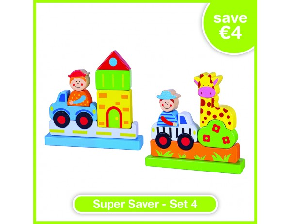Super Saver Set 4 - Magentc Block Puzzle - City (24m+), Magentc Block Puzzle - Zoo (24m+)