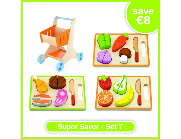Super Saver Set 7 - Shopping Cart (18m+),  My Cutting Dinner (18m+), My Cutting Fruit (18m+), My Cutting Vegetable (18m+)