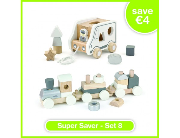 Super Saver Set 8 - Pull-Along Shape Sorting Truck (24m+), Stacking Train (18m+)