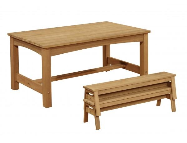 O/D Hardwood Table + Bench Set (CKPremium)