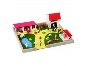 Wooden Farmyard and Animal Set