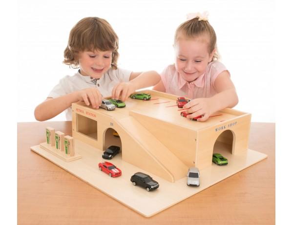 Wooden Garage  Die Cast Cars