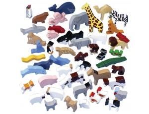 Wooden Animal Play Set - 48 Piece