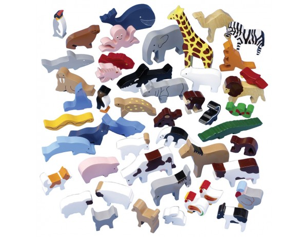 Wooden Animal Play Set - 48 Piece