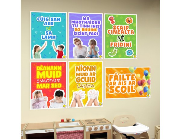 A2 Wall Posters - Back to School Posters (Set of 6) (As Gaeilge)