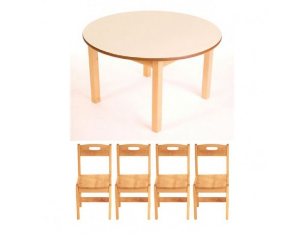 Birch Round Table + 4 Birch Chairs