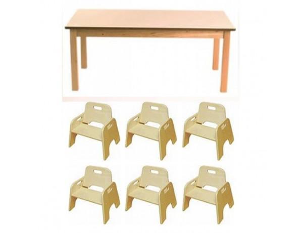 Birch Rectangular Table + 6 Wobbler Chairs