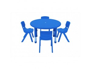 Rainbow Height Adjustable Small Round Table 4 Places - Blue