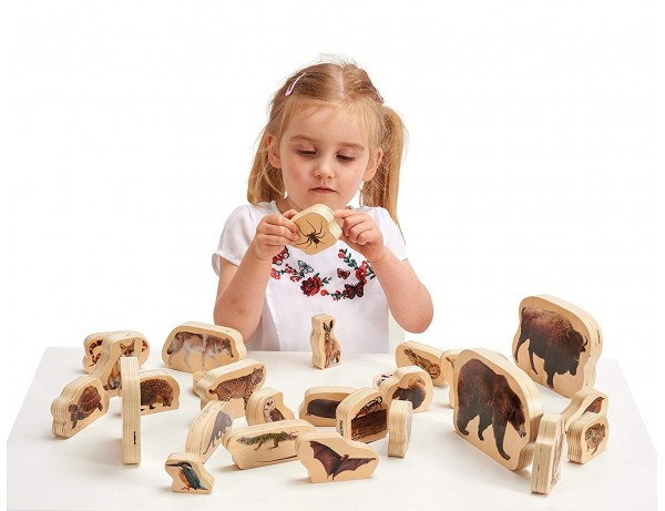 Wooden Forest Animals Blocks 12M+