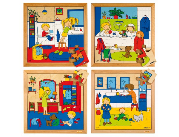 Personal hygiene puzzles - complete set of 4