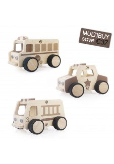 Wooden Community Vehicles Multibuy - Fire Truck, Police Car, School Bus