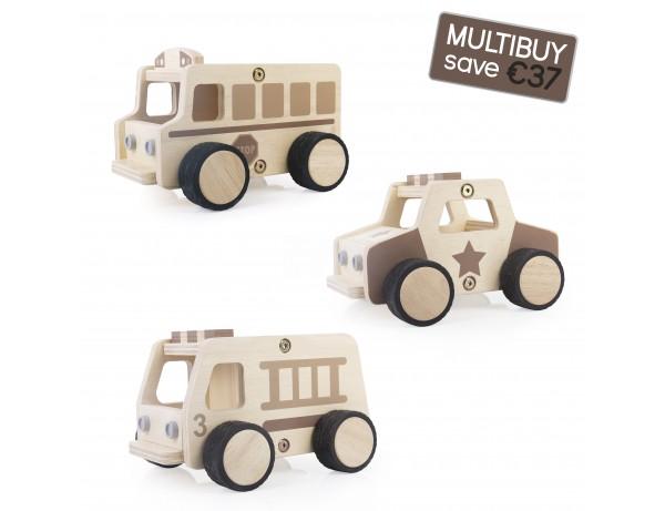 Wooden Community Vehicles Multibuy - Fire Truck, Police Car, School Bus