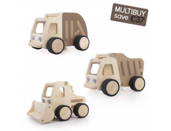 Wooden Construction Vehicles Multibuy - Dump Truck, Garbage Truck, Front Loader