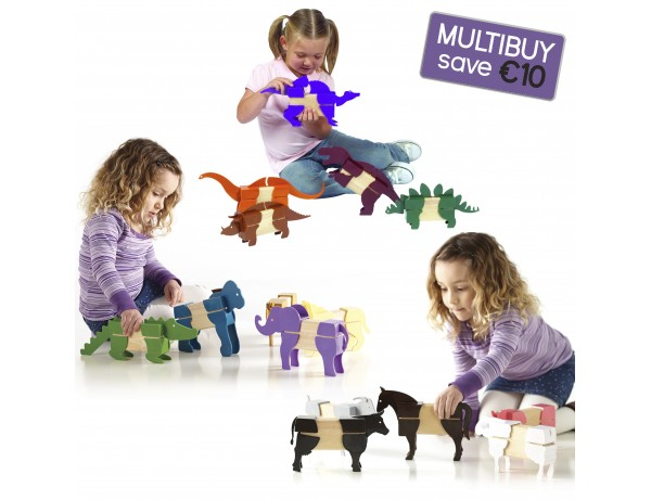 Block Mates Animals Multibuy - Safari, Farm & Dinosaurs
