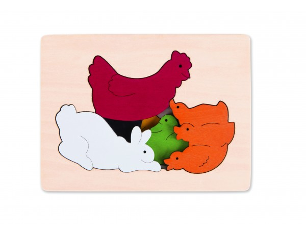 Chicken and Friends Layered Puzzle