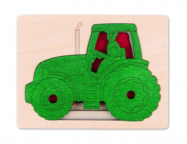 5 Tractors Layered Puzzle