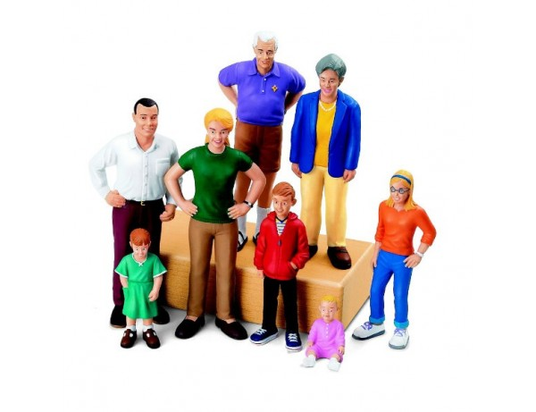 European/Caucasian Family Block People - Set Of 8