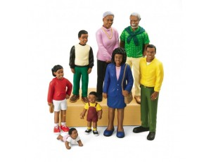 African American Family Block People - Set Of 8