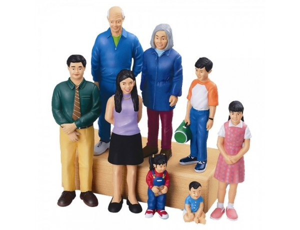 Asian Family Block People - Set Of 8