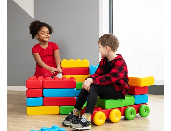 Giant Rainbow Building Blocks with Wheels (30 piece)