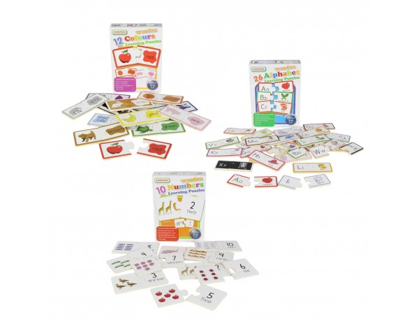 Wooden Learning Puzzles - Multibuy Set (Numbers, Colours, Alphabet)