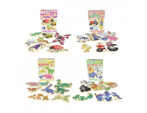 Wooden Learning Puzzles - Multibuy Set (Dinosaurs, Animals, Insects, Farm)