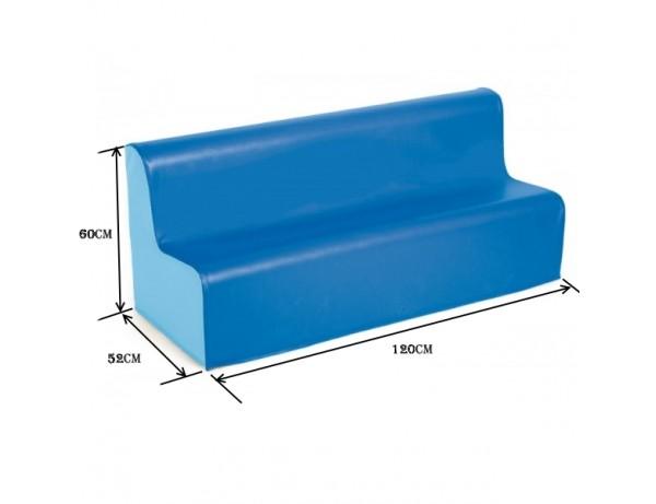 TWO TONE PRESCHOOL VINYL SOFA - BLUE 32CM HIGH