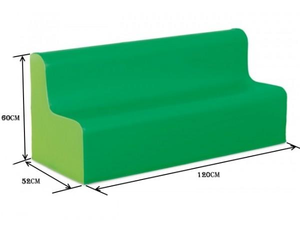 TWO TONE PRESCHOOL VINYL SOFA - GREEN 32CM HIGH