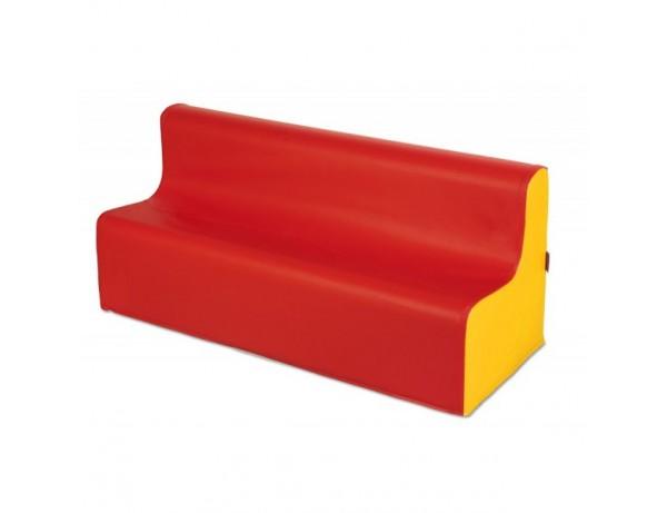 RED AND YELLOW PRESCHOOL VINYL SOFA - 32CM HIGH