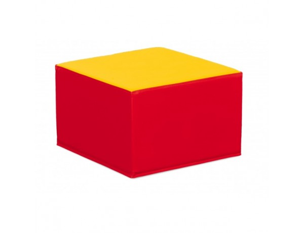 RED AND YELLOW SQUARE POOF - 26 CM