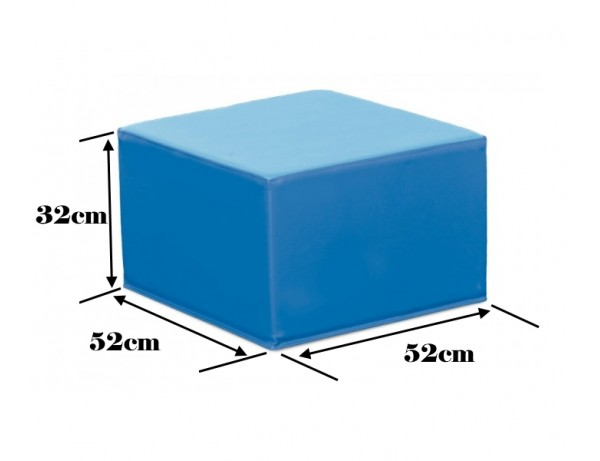 TWO TONE BLUE SQUARE POOF - 32 CM