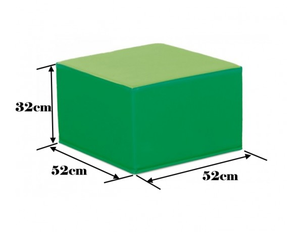 TWO TONE GREEN SQUARE POOF - 32 CM
