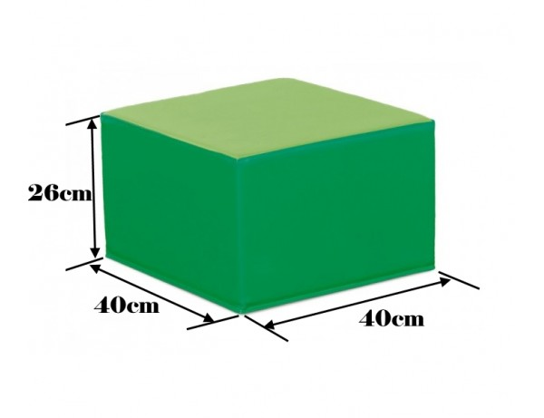 TWO TONE GREEN SQUARE POOF - 26 CM