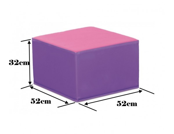 TWO TONE VIOLET AND PINK SQUARE POOF - 32 CM