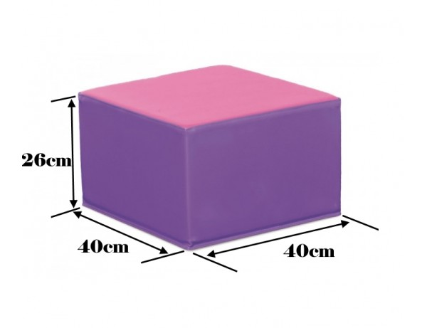 TWO TONE VIOLET AND PINK SQUARE POOF - 26 CM