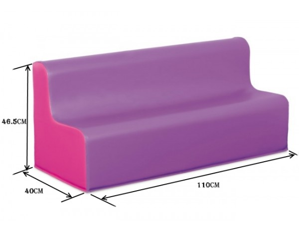 TWO TONE VIOLET &PINK TODDLER VINYL LONG SOFT SOFA SEAT HEIGHT 26CM