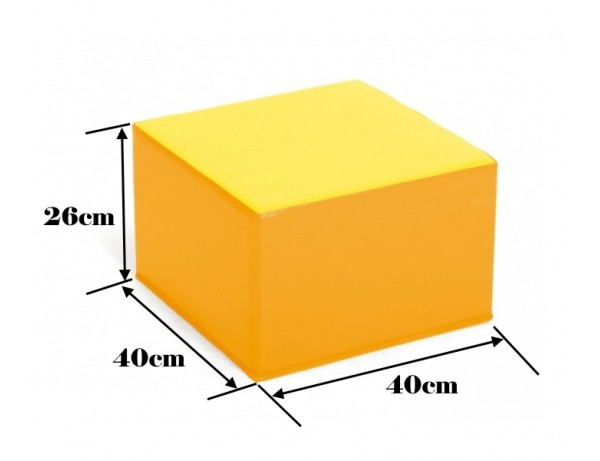 TWO TONE YELLOW SQUARE POOF - 26 CM