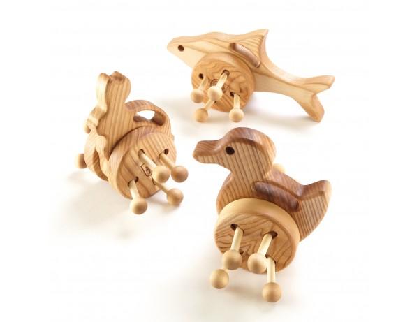 Wooden Wheeled Animal Push Along Toys 3pk