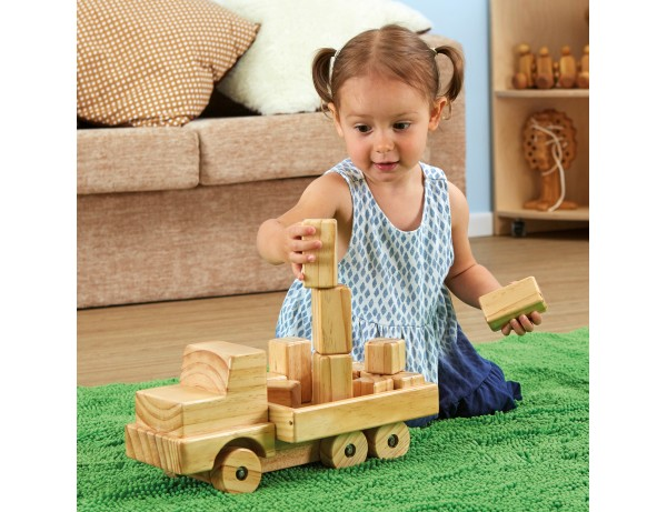 Giant Wooden Truck with Building Blocks