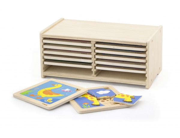 Wooden Puzzle -12pcs Set w/Storage Shelf (18m+)