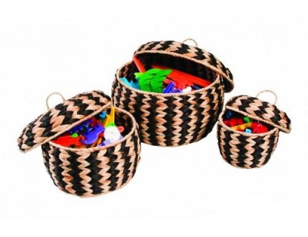 Woven Zebra Pots Set of 3